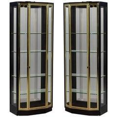 Pair of Henredon Ebonized and Brass Curio Cabinets