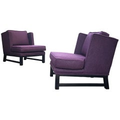 Pair of Lounge Chairs in Maharam Wool Reminiscent of Dunbar Designs