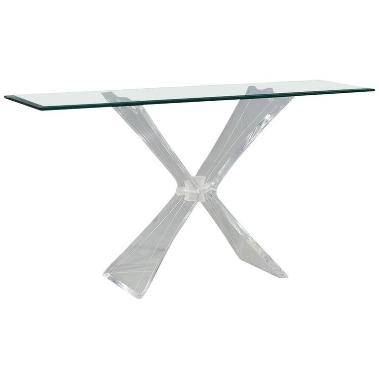 Lucite and Glass Console in Manner of Lion in Frost