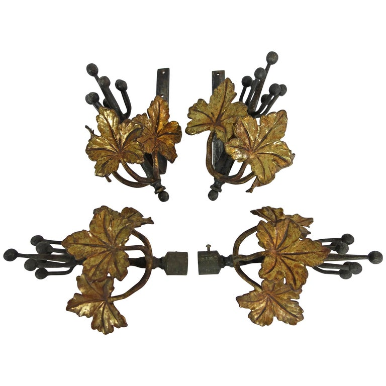 Set of Steel and Bronze Ivy Leaf Curtain Hardware