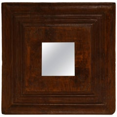 Andrianna Shamaris Bevelled Teak Wood Mirror