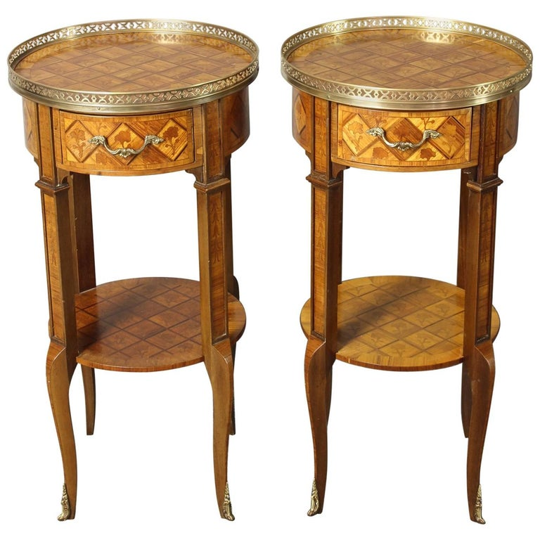 Pair of French Marquetry Side Tables 1