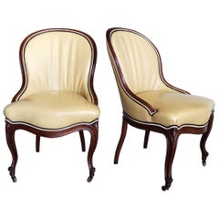 Pair of Louis XII Style Carved Oak Side Chairs from the Estate of John Dickinson