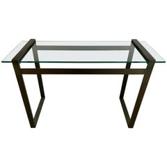"Bronze and Glass Console Table, Charles Hollis Jones ""Box Line Series"", 1960s"