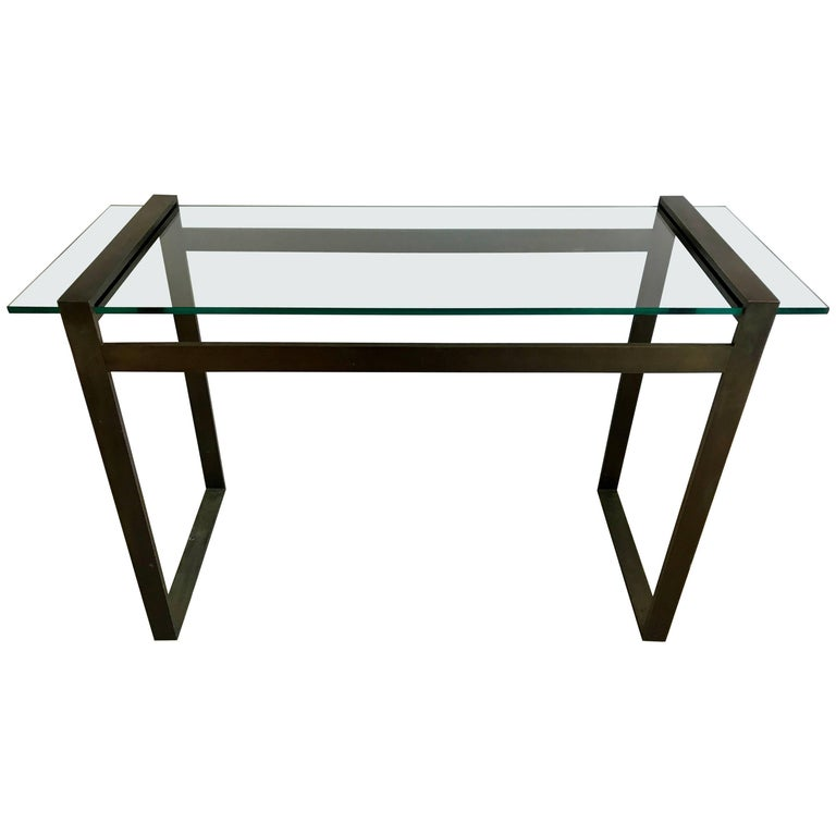 Box Console Table ~ Charles hollis jones quot box line bronze and glass console