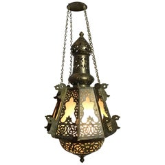 Mid-Century Petite Brass Moroccan Lantern