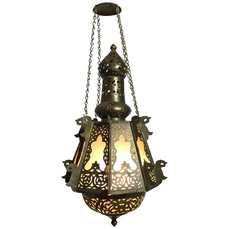 Mid-Century Petite Brass Moroccan Lantern For Sale