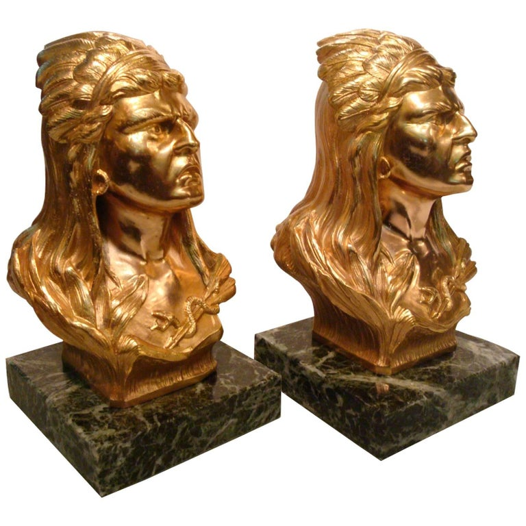 Gilt Bronze Native North American Indians Bookends, France, 1920