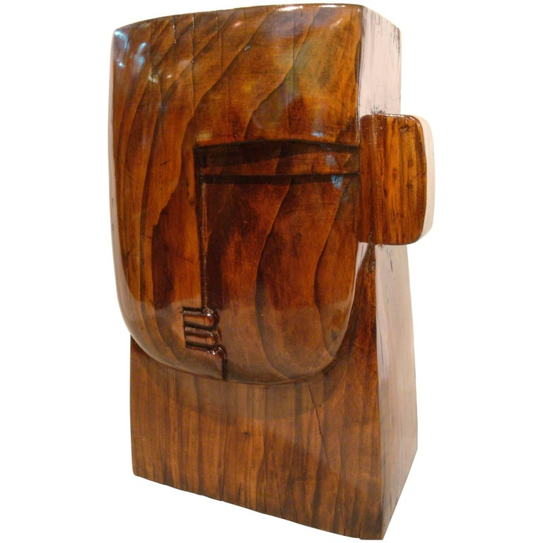 Art Deco Cubist Carved Wooden Head Sculpture, France