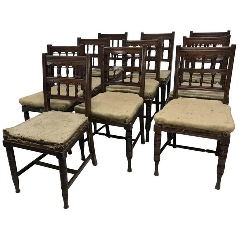 Bruce Talbert, Harlequin Set of Ten Walnut Dining Chairs Made by Gillows