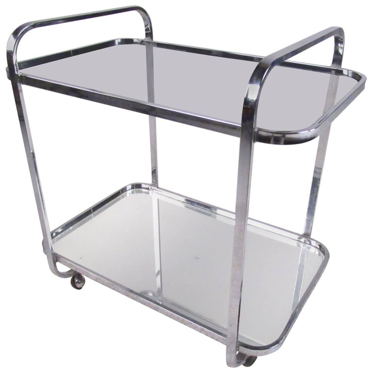 Classic Vintage French 55 Square Two Tier Brass Glass: Vintage Modern Chrome And Smoked Glass Bar Cart For Sale