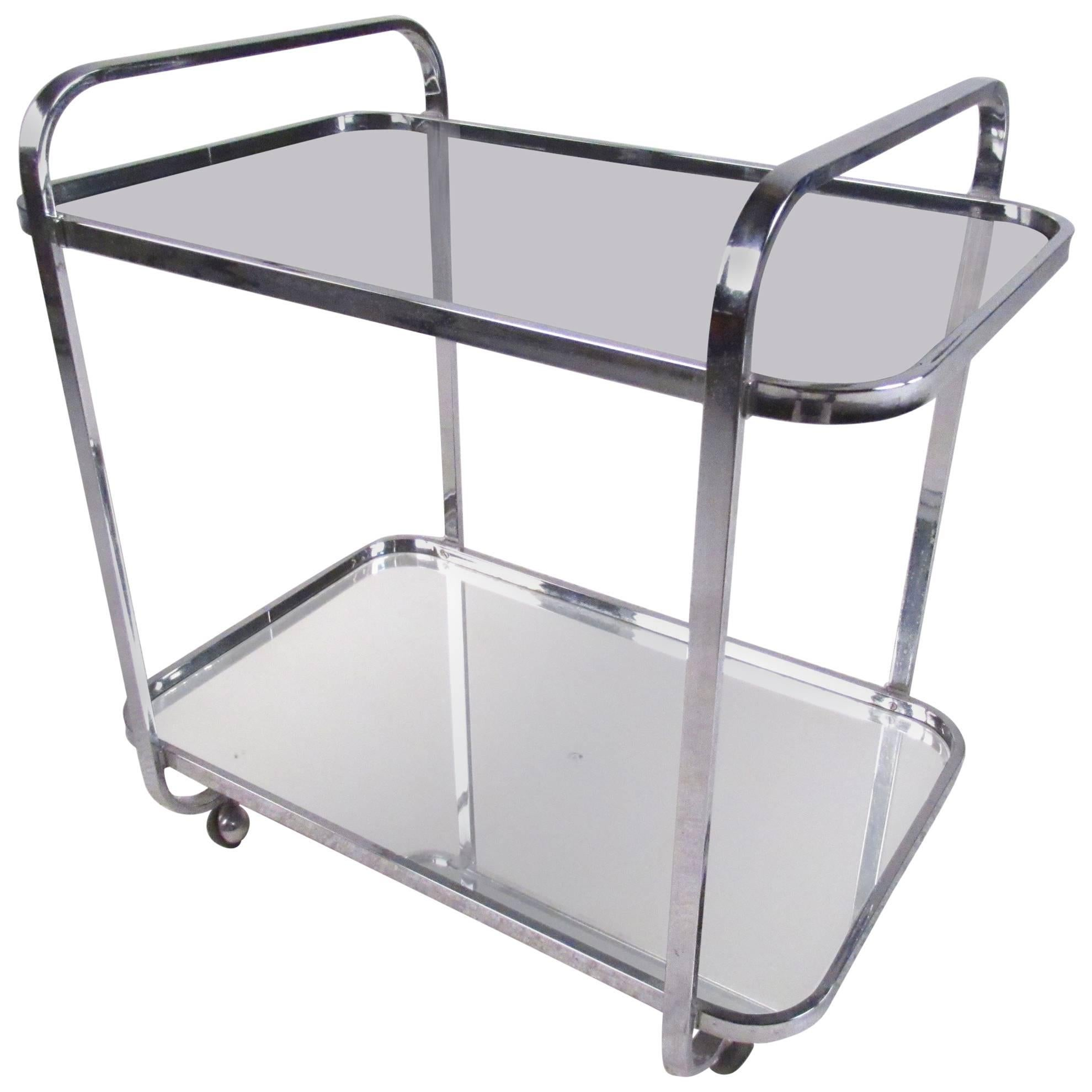 Elegant Vintage Modern Chrome And Smoked Glass Bar Cart For