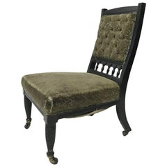 Rare Aesthetic Movement Nursing Chair Designed by Bruce Talbert