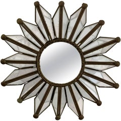 Small Mid-Century Modern Sunburst Mirror with Copper Frame, 1960s