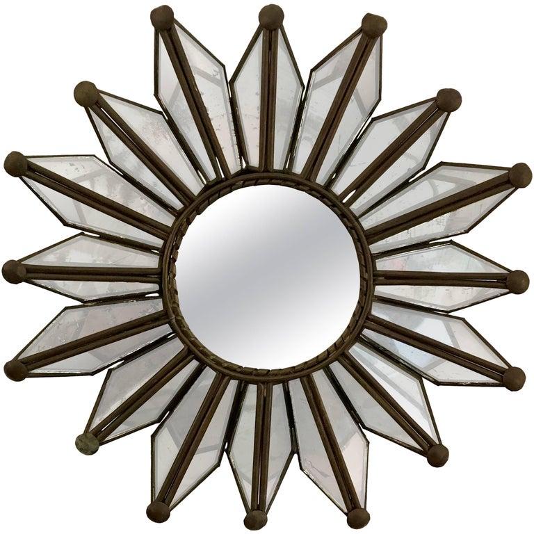 Small Mid-Century Modern Sunburst Mirror with Copper Frame ...