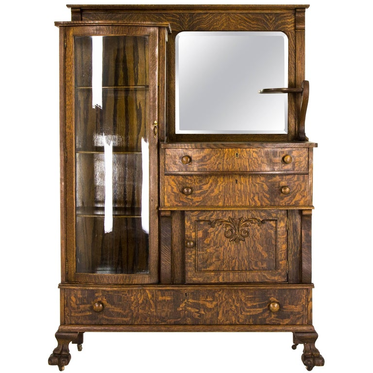 Curio Cabinet Antique Buffet Tiger Oak Mirrored B798 For