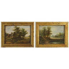 Pair of Small Mid-19th Century European Oil Paintings on Panel