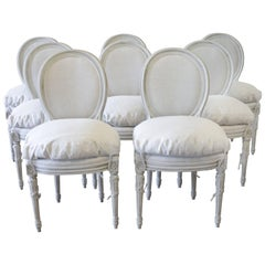 20th Century Set of Eight Painted and Upholstered Louis XVI Dining Chairs