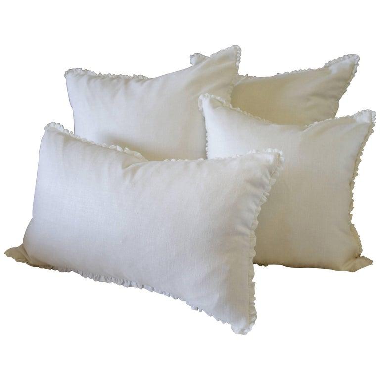 Custom Soft White Silk and Linen Pillows