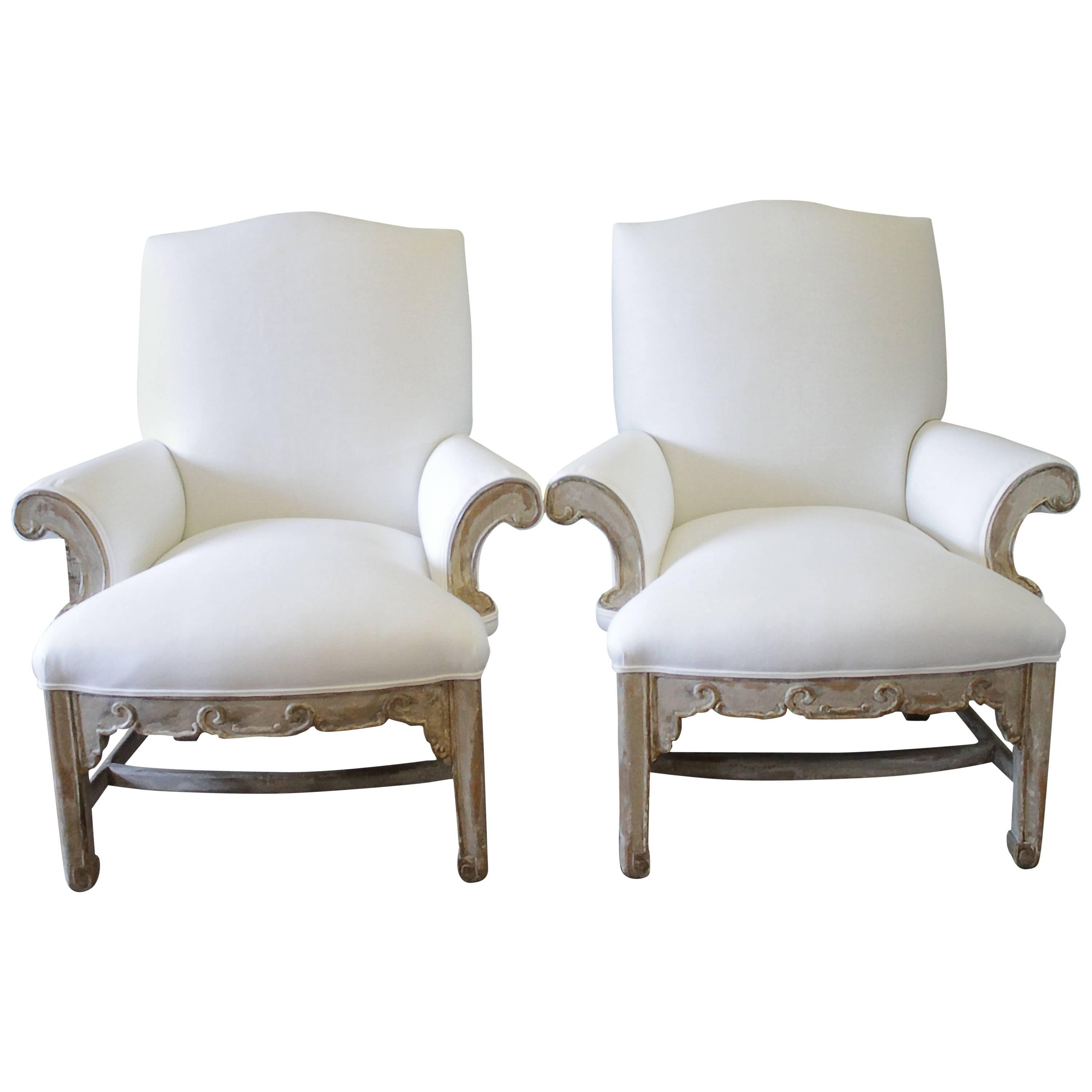 Pair Of Painted An Upholstered Chairs By William Switzer 1