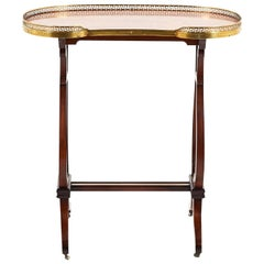Small Antique Kidney-Shape Lyre-Base Writing Table, circa 1920