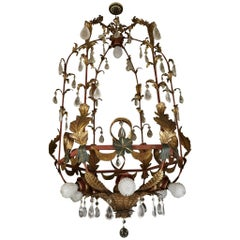 Large Early 20th Century Venetian Tole, Crystal and Rock Crystal Lantern
