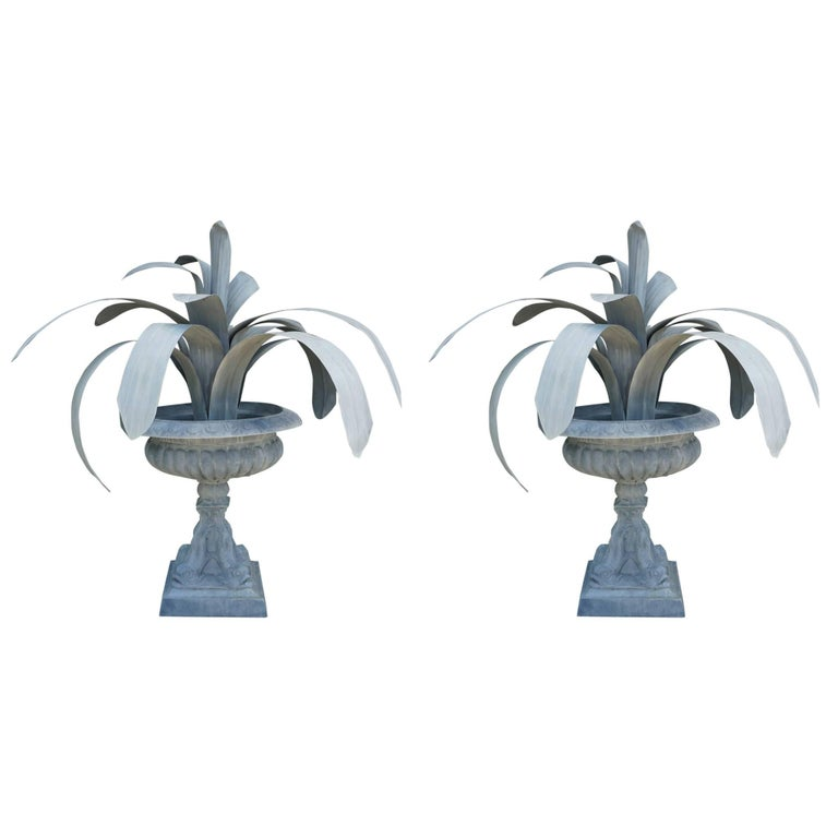 Pair of Large Vintage Tole Iron Topiary Plants in Vintage Tole Metal Urns For Sale