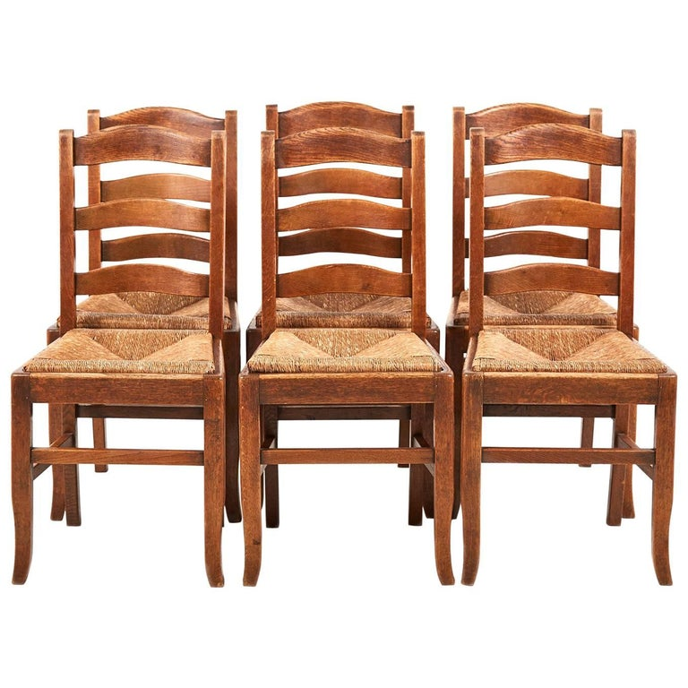 Antique Country French Solid Oak Dining Chairs At 1stdibs