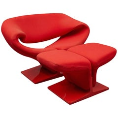 """Ribbon"" Lounge Chair and Ottoman by Pierre Paulin for Artifort"