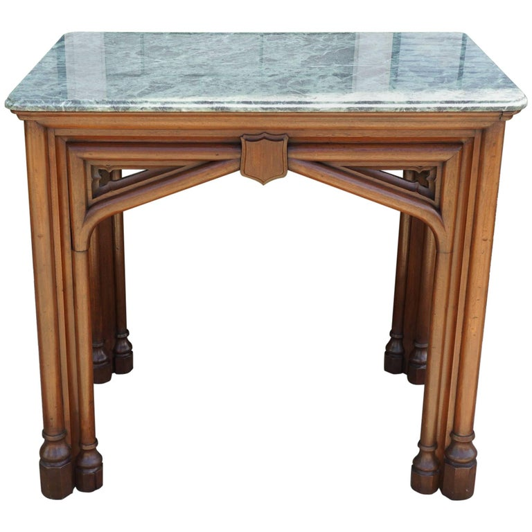 Oak 19th Century Gothic Revival English Marble Topped Centre or Library Table For Sale