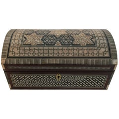 Middle Eastern Moorish Syrian Mother-of-Pearl Inlaid Walnut Large Jewelry Box