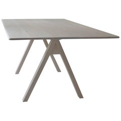 Spectral Dining Table / Bleached Maple Minimal Modern Trestle Table or Desk