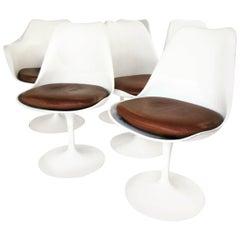 Eero Saarinen Lather Tulip Chairs, Set of Six