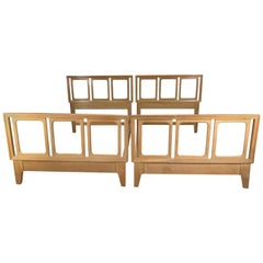 Pair of Blonde Mahogany Beds by Edward Wormley for Drexel Precedent