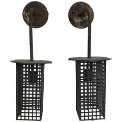 Modernist Jugendstil Iron Mesh Wall Sconces or Lanterns Manner of Josef Hoffmann