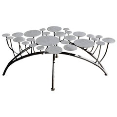Contemporary Stainless Steel Backless Garden Bench