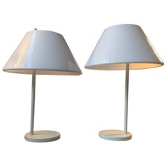 Pair of White Minimalist Table Lamp, Per Iversen, Louis Poulsen, Denmark, 1970s