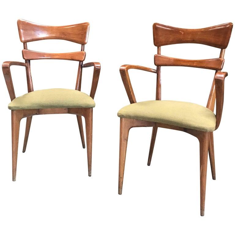 Italian Pair of Very Rare Ico Parisi Armchairs