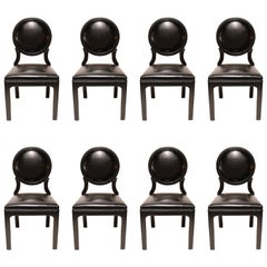 Chic Black Lacquered 1960s Dining Chairs, Set of Eight