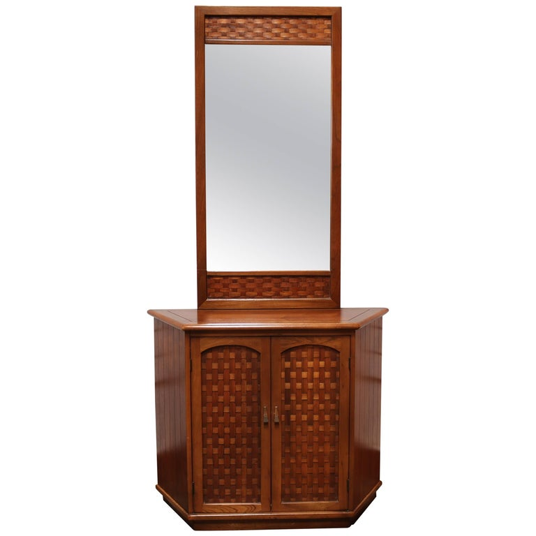 Foyer Cabinet And Mirror : Walnut entryway storage cabinet with mirror at stdibs