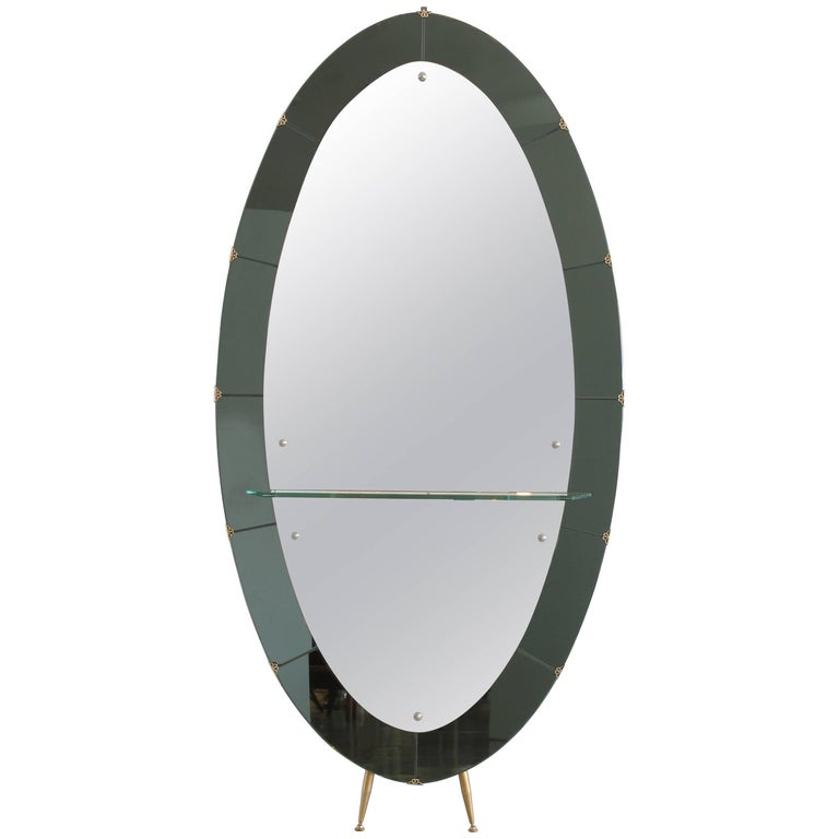 Cristal art standing mirror with shelf for sale at 1stdibs for Full length mirror with shelf