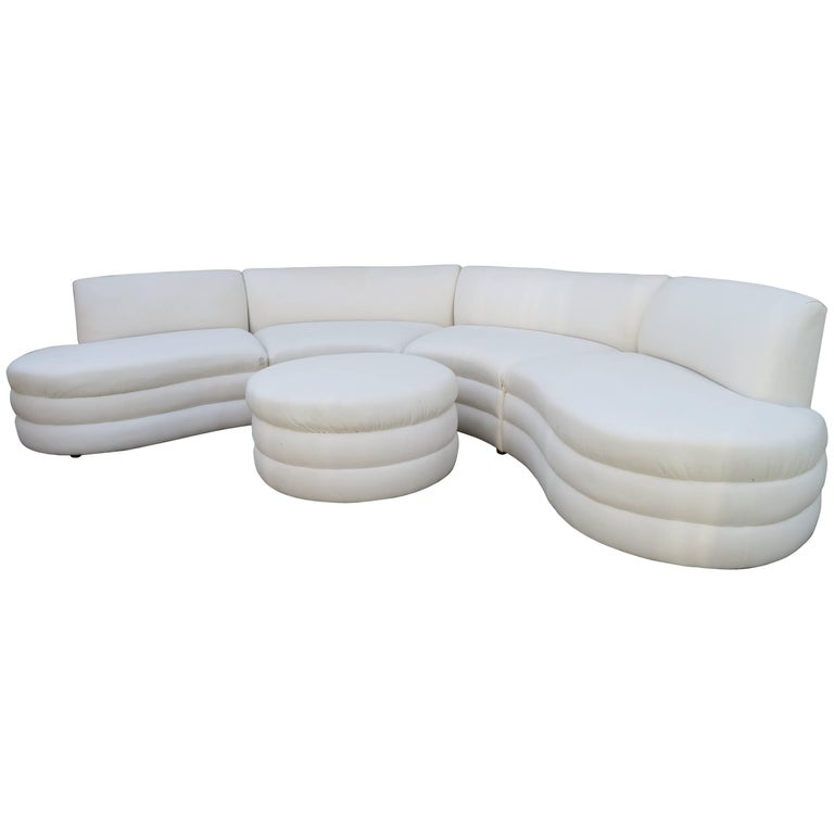 Curved Five Piece Sectional Sofa Mid Century Directional For