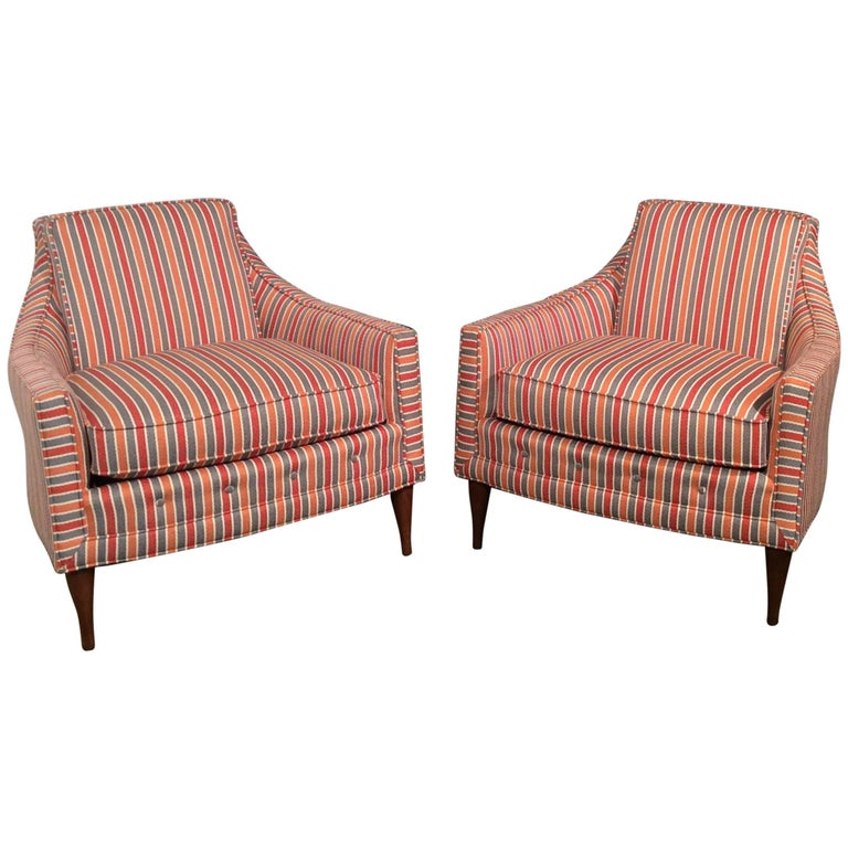 Mid-Century Modern Low Back Club Chairs with New Striped Upholstery