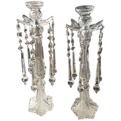 Sumptuous Pair of Cut Crystal Tall Candlesticks, Attributed to F.&C. Osler