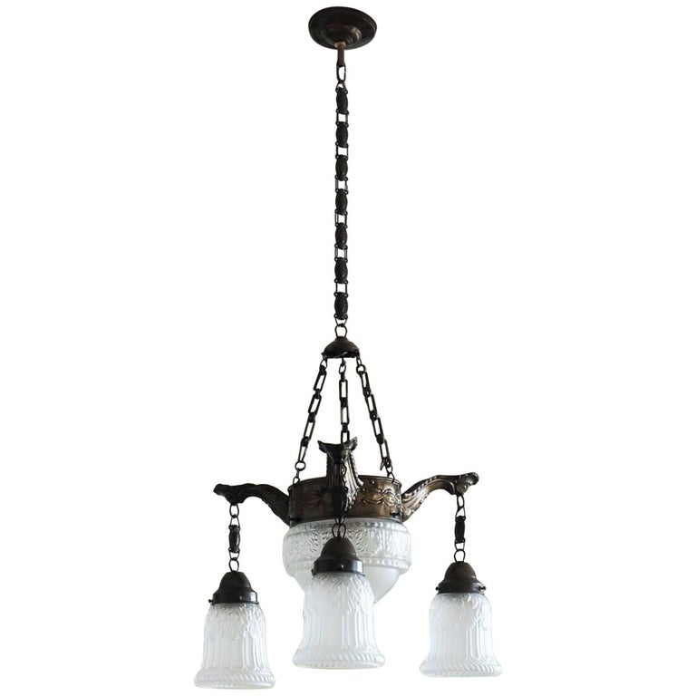 Early 20th Century French Art Deco Four-Light Chandelier Brass and Frosted Glass