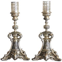 19th Century Pair of Silver Plated Candlesticks with Gothic Ornaments Candelabra