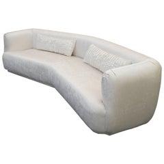 Large Angled Mid-Century Regency Style Sofa