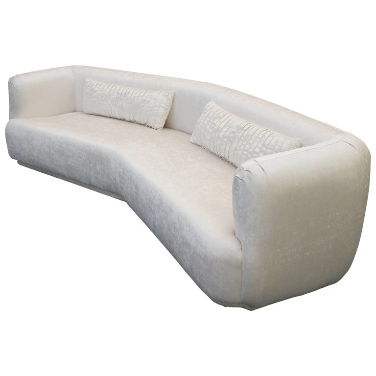 Large Angled Mid-Century Regency Style Sofa For Sale