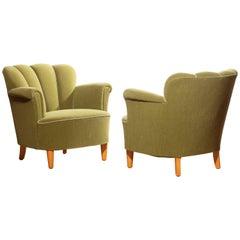 1940s, Swedish Set of Green Club Chairs