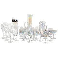 1950s Iridescent Glass Beverage Entertainment Set of 32 Pieces